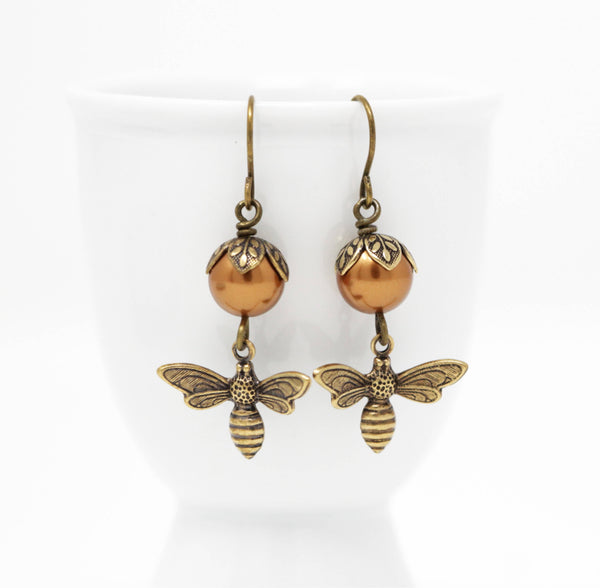 Copper Pearl Honey Bee Earrings - Jacaranda
