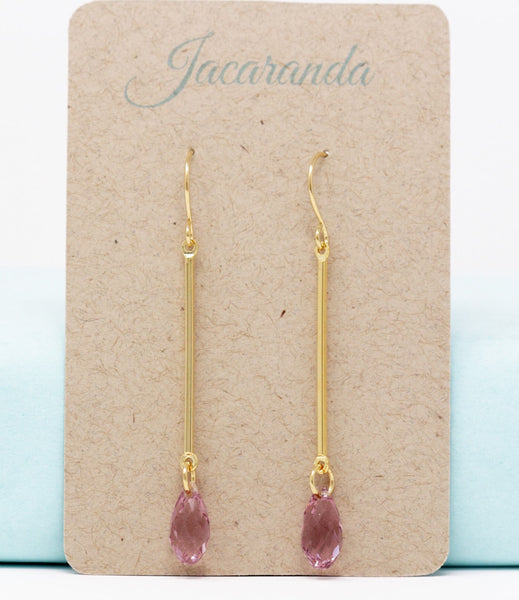 Long Lilac Crystal Dangle Earrings - Jacaranda