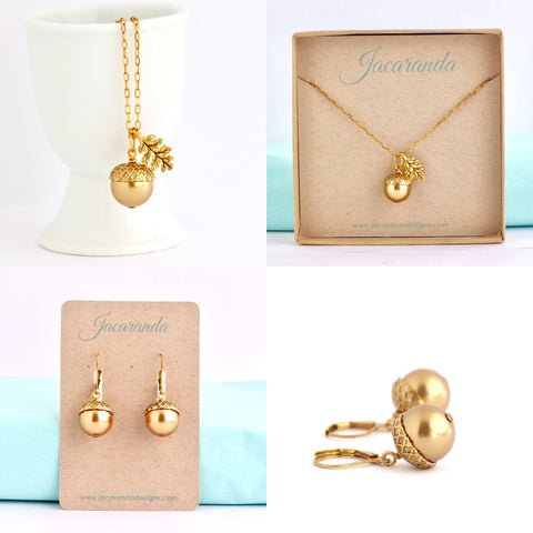 Acorn Necklace Earrings Gift Set -  Gold Pearl
