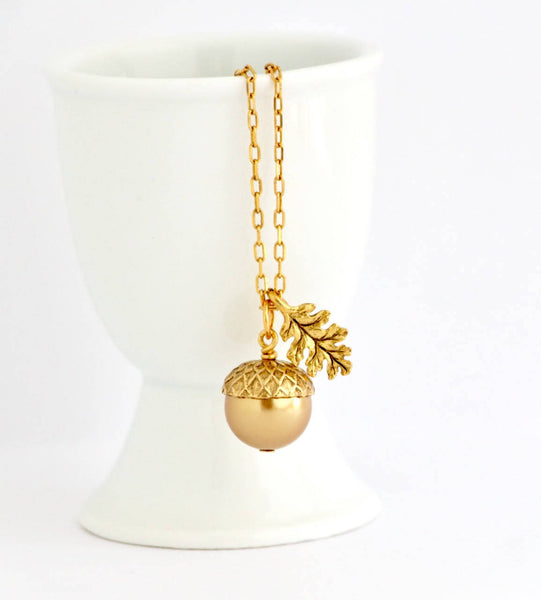 Acorn Necklace Earrings Gift Set -  Gold Pearl - Jacaranda