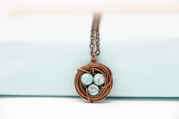 Light Turquoise Bird Nest Necklace - Small