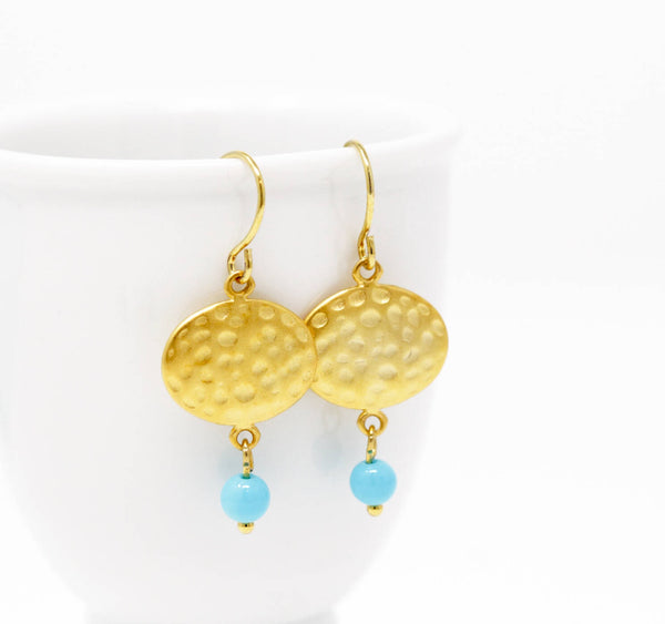 Hammered Gold and Turquoise Earrings