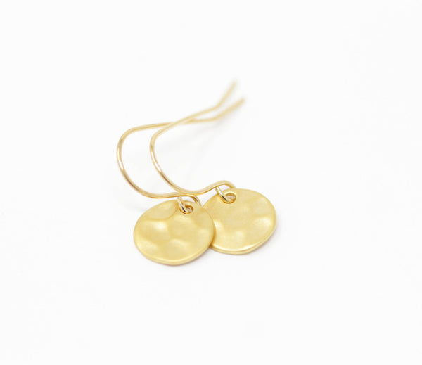 Small Gold Hammered Disk Earrings