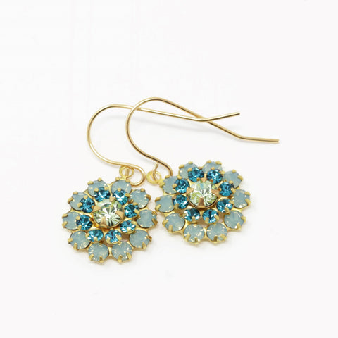 Vintage Swarovski Crystal Flower Earrings - Style 2