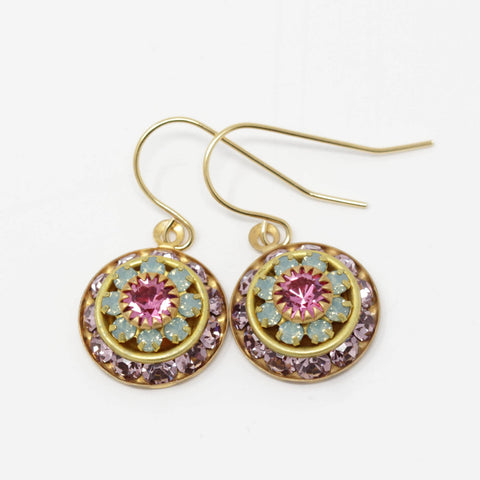 Vintage Swarovski Crystal Flower Earrings - Style 1 - Jacaranda