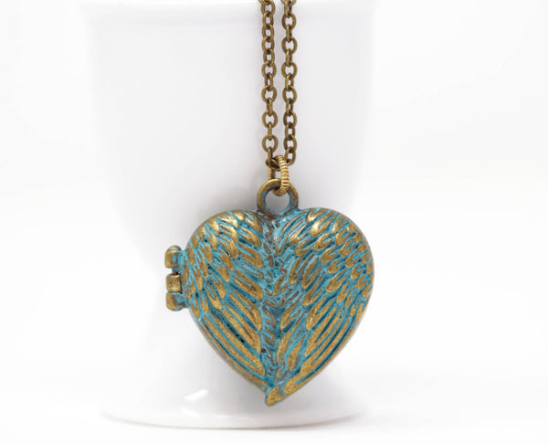 Patina Green Heart Locket