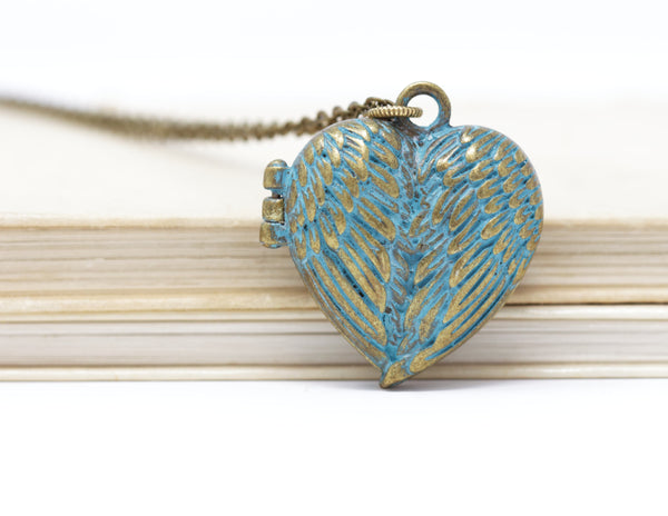 Patina Green Heart Locket - Jacaranda