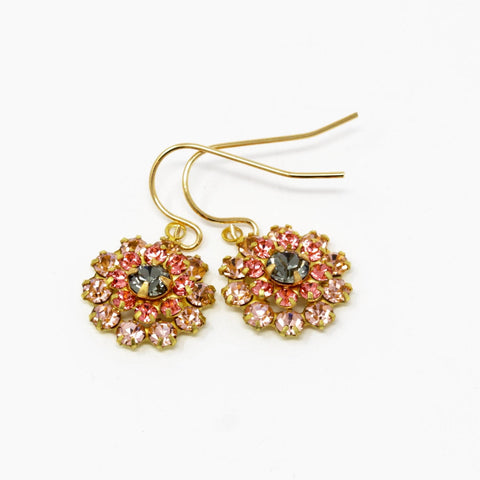 Vintage Swarovski Crystal Flower Earrings - Style 3