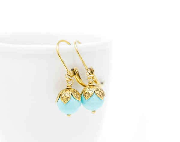 Aqua Pearl Drop Earrings - Jacaranda