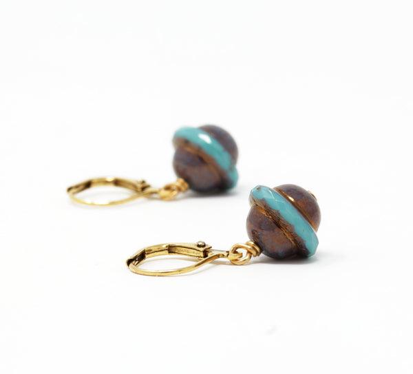 Rustic Turquoise Glass Beaded Drop Earrings - Jacaranda