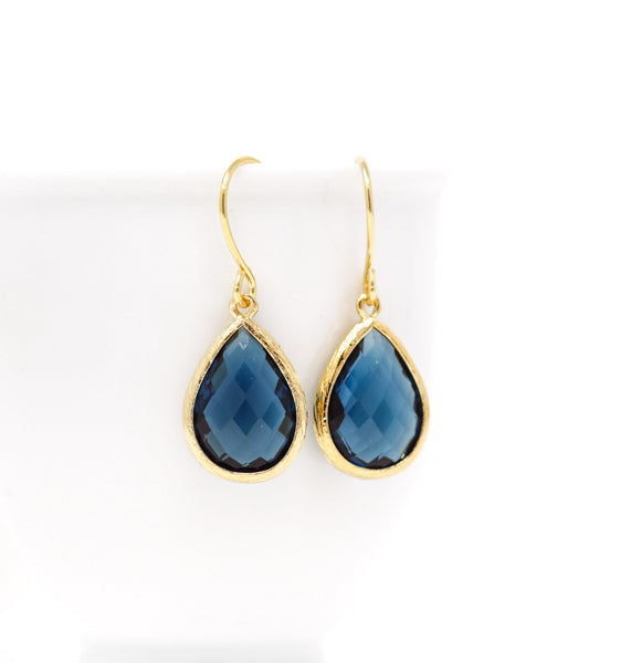 Navy Blue Glass Jewel Earrings - Jacaranda