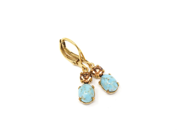 Turquoise and Brown Jewel and Rhinestone Vintage Glass Earrings - Jacaranda