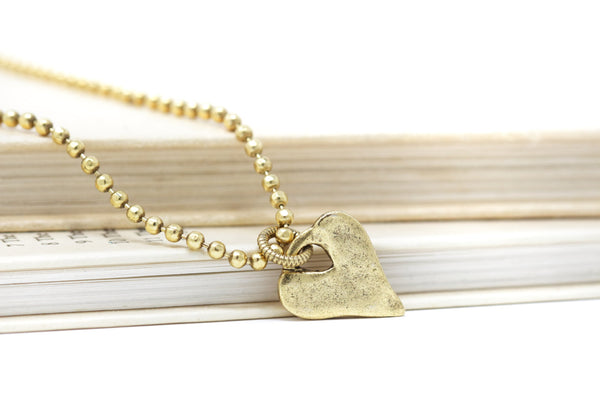 Hammered Golden Brass Heart Charm Necklace on Faceted Ball Chain - Jacaranda