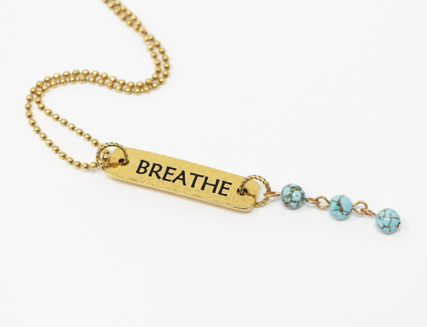 Bohemian Necklace With Turquoise Stones and Wording on Faceted Ball Chain - Jacaranda