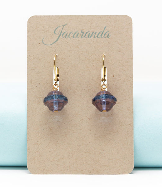 Rustic Mauve Rough Glass Beaded Drop Earrings - Jacaranda
