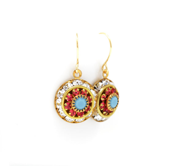 Vintage Swarovski Round Crystal Dangle Earrings - Clear, Coral and Turquoise - Jacaranda
