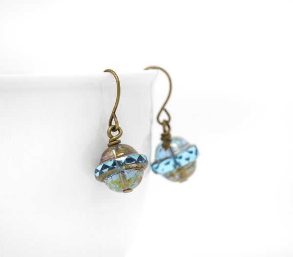 Rustic Blue Green Rough Glass Beaded Drop Earrings - Jacaranda