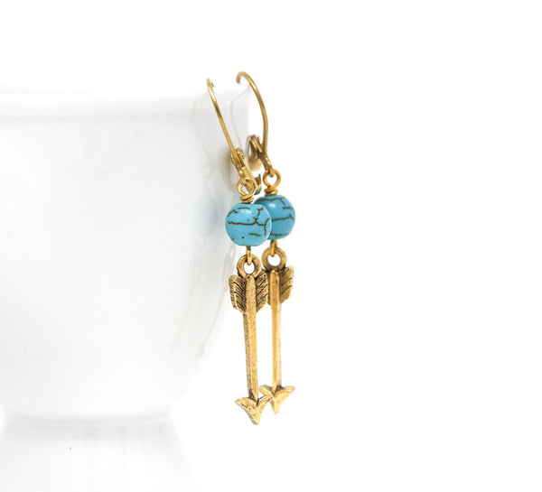 Boho Golden Brass Arrow Earrings With Turquoise Stone Beads - Jacaranda
