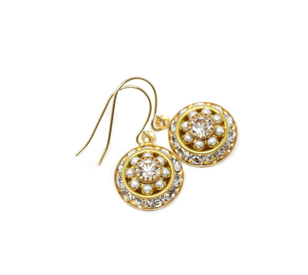 Intricate Vintage Swarovski Crystal Earrings - Gold With Clear Crystals and Tiny Simulated Pearls - Jacaranda