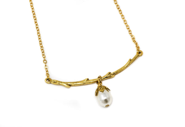 Golden Branch Simulated Pearl Necklace - Jacaranda