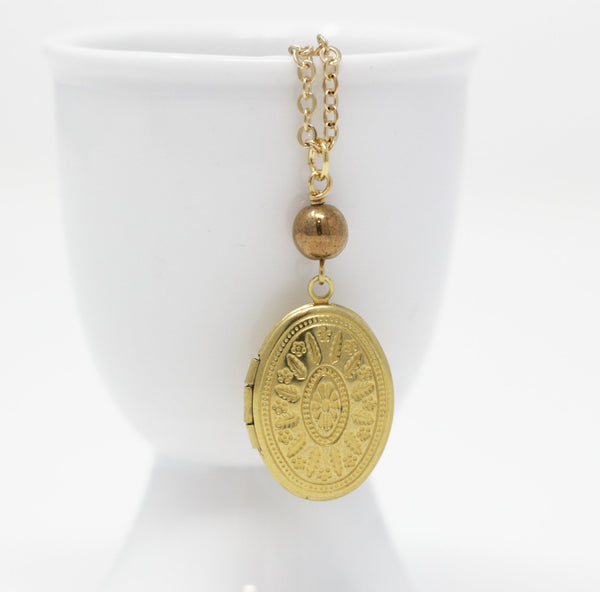 Small Oval Ornate Locket Necklace With Copper Colored Bead - Christmas Gift For Her - Jacaranda