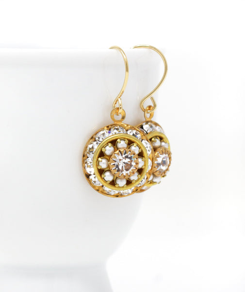 Vintage Swarovski Crystal Earrings - Clear with Pearls - Jacaranda