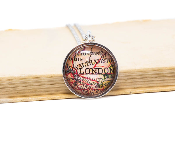 London City Map Pendant Necklace - Jacaranda
