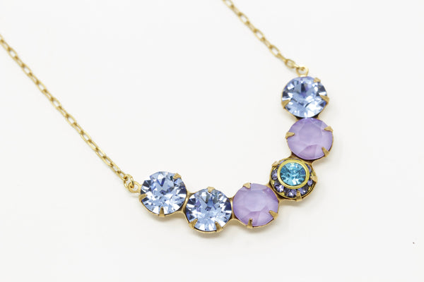 Vintage Swarovski Crystal Crescent Necklace - Purple, Mauve and Turquoise Stones - Jacaranda