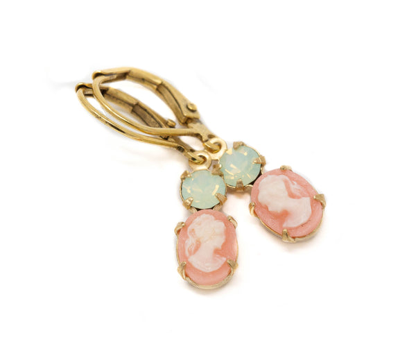 Sweet Peach Cameo Earrings With Mint Green Jewels - Jacaranda