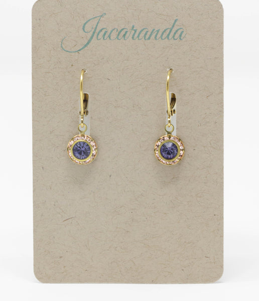 Tiny Purple and Peach Rhinestone Earrings With Leverbacks - Jacaranda