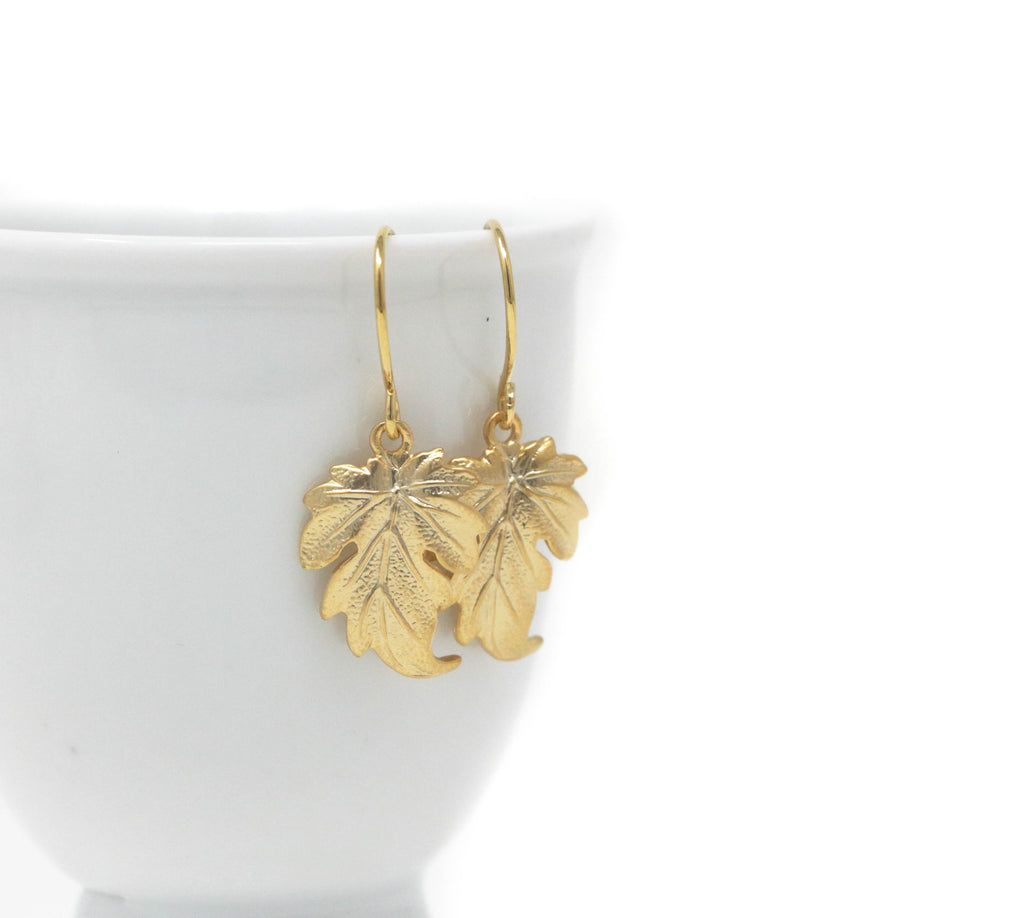 Gold Leaf Dangle Earrings - Perfect Jewelry For The Nature Lover