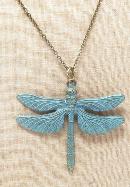 Large Patina Green Brass Dragonfly Pendant Necklace - Jacaranda