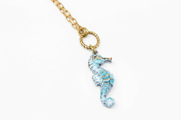 Small Seahorse Necklace With Blue Green Patina on Brass Chain - Jacaranda
