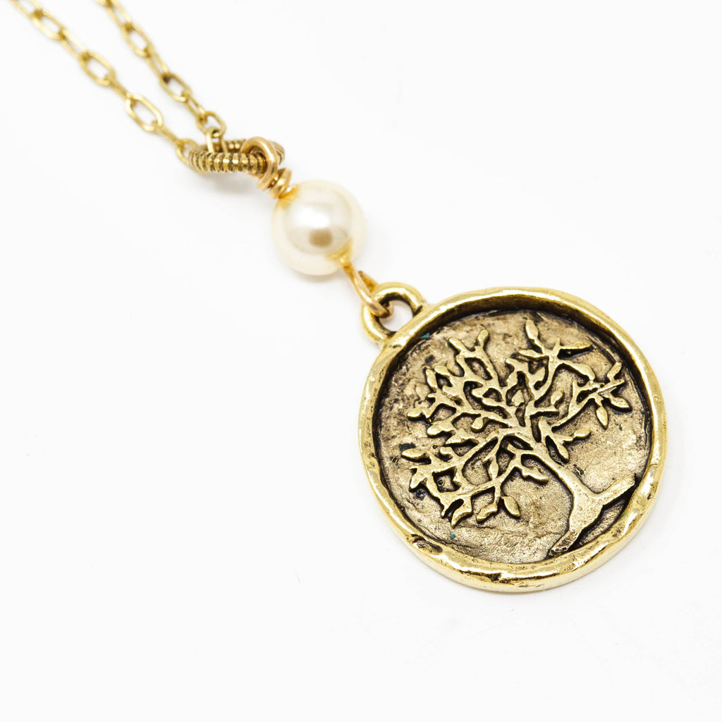 Brass Tree of Life Pendant Necklace With Small Pale Gold Pearl - Jacaranda