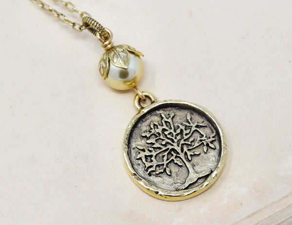 Brass Tree of Life Pendant Necklace With Pale Gold Pearl - Jacaranda