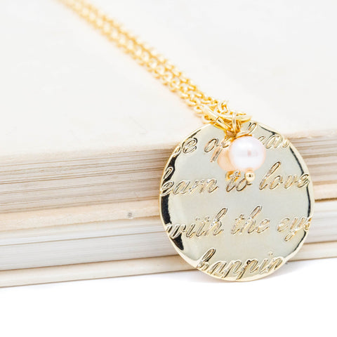 Gold Engraved Love Words Necklace With Pink Pearl - Jacaranda