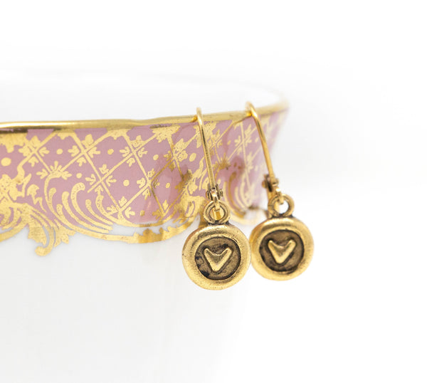 Gold Heart Charm Earrings - Jacaranda