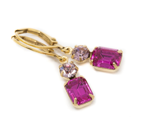 Small Fuchsia Pink Vintage Jewel Earrings With Leverbacks - Jacaranda