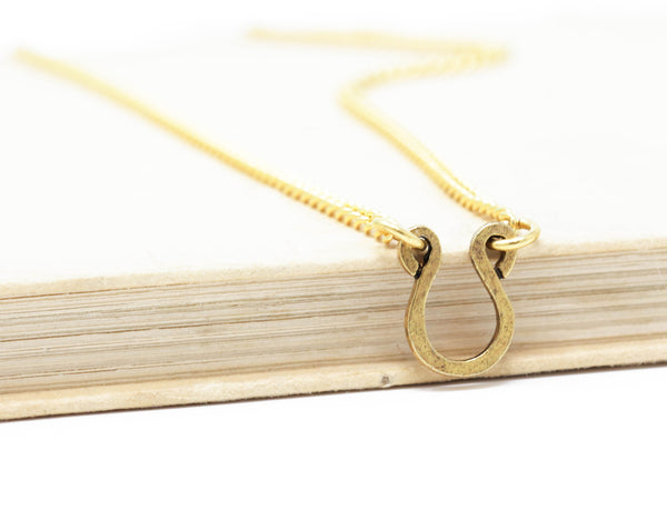 Delicate Brass Horseshoe Good Luck Necklace - Jacaranda