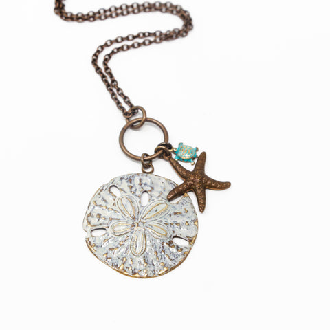 Large White Patina Sand Dollar Necklace With Starfish and Tiny Sea Turtle Charm - Jacaranda