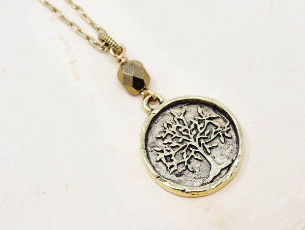Brass Tree of Life Pendant Necklace With Small Bronze Bead - Jacaranda