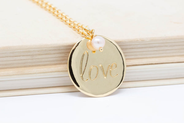 Gold Disc Love Necklace With Pink Pearl - Jacaranda