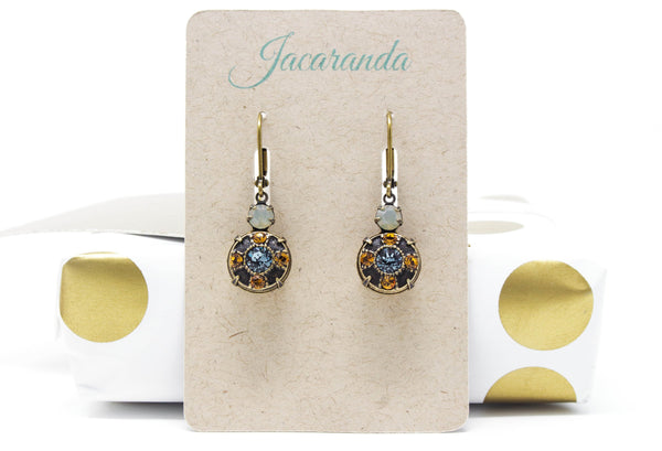 Topaz, Gray and Sapphire Blue Swarovski Crystal Dangle Earrings in Antique Brass - Jacaranda