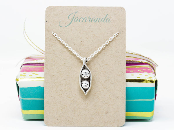 Mothers Day Gift - Two Peas in a Pod Pendant Necklace - Perfect For Siblings, Best Friends, Families, Mothers, Grandmothers - Jacaranda