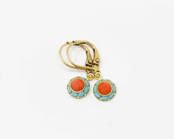Tiny Orange and Turquoise Rhinestone Earrings - Jacaranda