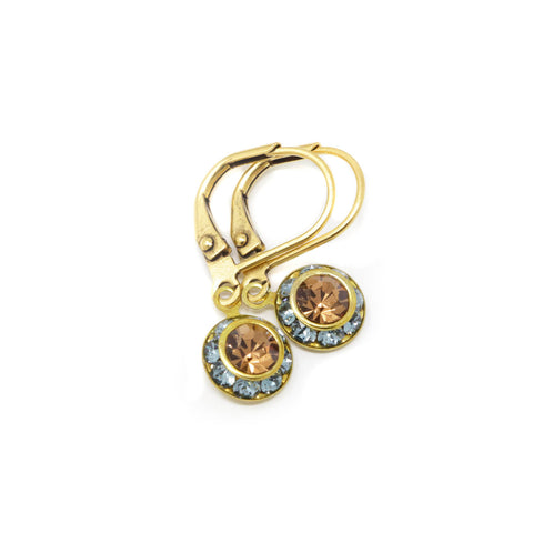 Blue and Brown Circular Rhinestone Earrings With Brass Leverbacks - Jacaranda