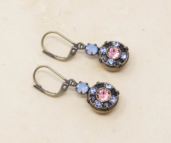 Vintage Blue Crystal Dangle Earrings With Pink Crystal Center