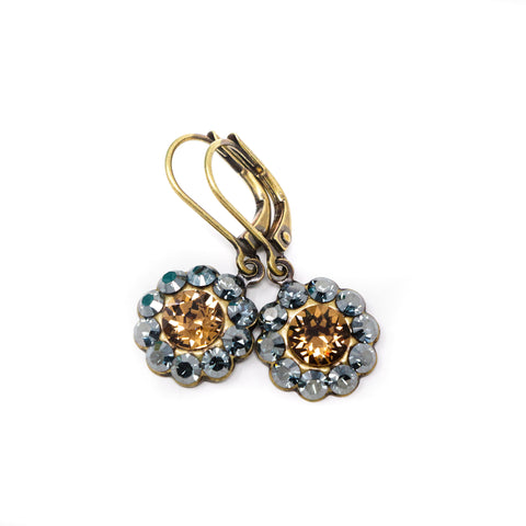 Blue and Brown Crystal Earrings - Jacaranda