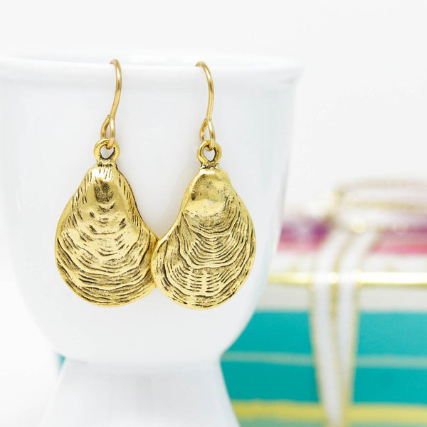 Brass Oyster Shell Dangle Earrings - Jacaranda