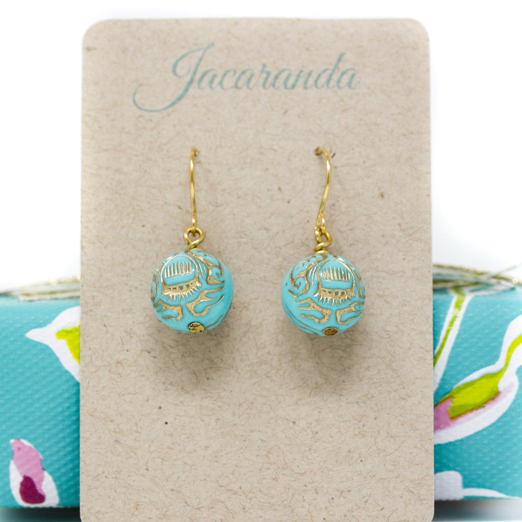 Vintage Turquoise and Gold Bead Earrings - Jacaranda